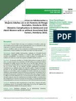Complicaciones Obsteacutetricas en Adolescentes y Mujeres Adultas Con o Sin Factores de Riesgo Asociados Honduras 2016