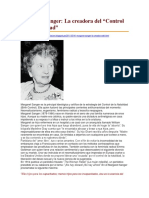 Margaret Sanger. La Creadora Del Control de La Natalidad