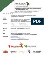 Uitnodiging Recreantentoernooi Bavikhove 18-02-18