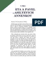 Marx - Carta a Pavel Vasilyevich Annenkov