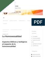 La homosexualidad – Apuntes Teológicos