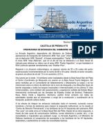 """GACETILLA DE PRENSA N°78 OPERACIONES DE BÚSQUEDA DEL SUBMARINO ARA """"SAN JUAN"""""""