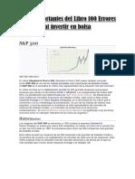 Notas Importantes Del Libro 100 Errores Al Invertir en Bolsa