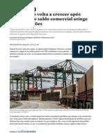 Exportação volta a crescer após cinco anos e saldo comercial atinge US$ 67 bilhões