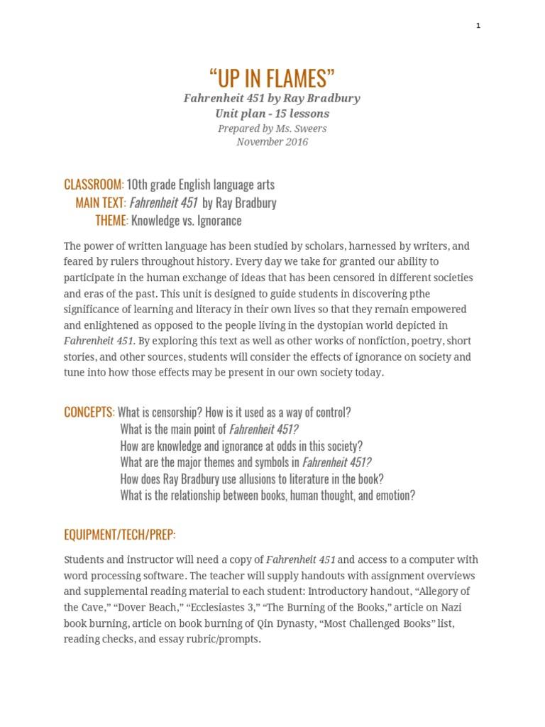 Unit Plan Fahrenheit 451 Narration Essays