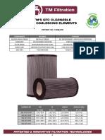 GFC Coalescing Filter Element Cutsheet