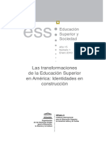 Las Transformaciones de La Educación Superior de América Latina_ Identidades en Construcción; Revista Educación Superior y Sociedad_ Nueva Época; Vol