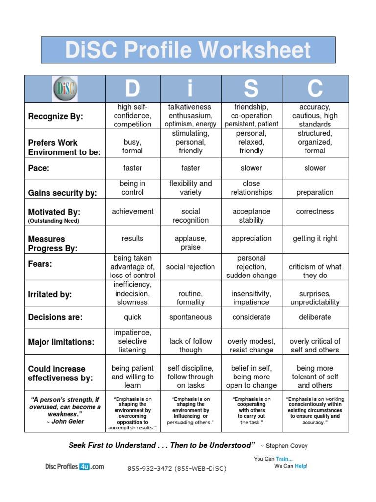 Disc Assessment Worksheet Excel