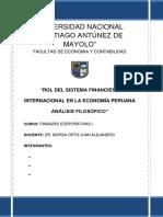 Rol Del Sistema Financiero Internacional en La Economía Peruana Análisis Filosófico Imprimir