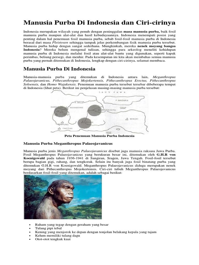 Manusia Purba Di Indonesia Dan Ciri
