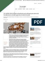 Un Satélite Desarrollado en Bariloche Será Utilizado Para Alerta de Inundaciones