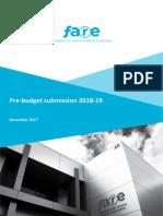 FARE Pre Budget Submission 2018 19