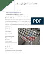 cartridge filter screens