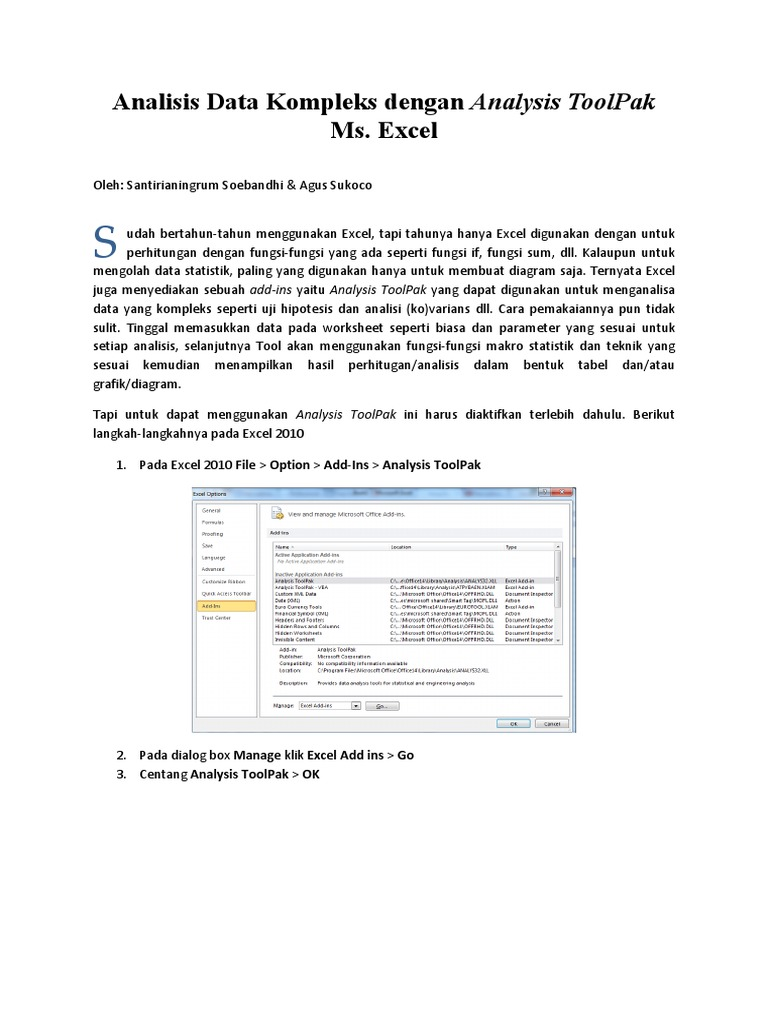 Mengaktifkan Analysis ToolPak pdf