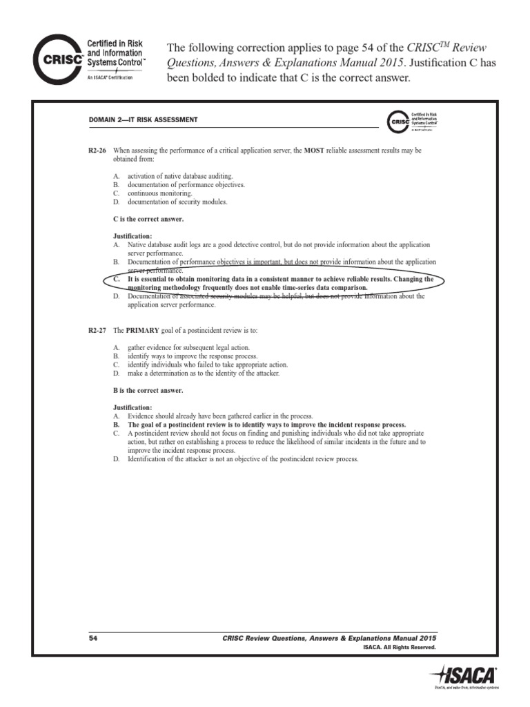 CRISC Review QAE Manual 2015 Correction Page 54 Xpr Eng 0415 | Incident  Management | Educational Assessment