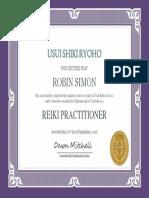 Robin Simon Reiki One Certification