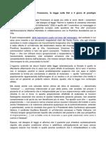 Seconda Riflessione. Papa Francesco La Legge Sulle DAT e Il Gioco Di Prestigio Delleutanasia