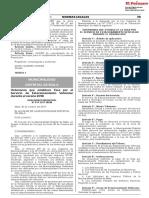 Ordenanza que establece la Tasa por el Servicio de Estacionamiento Vehicular durante el verano 2018
