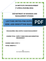 Supply Chain Risk and Disruption Management Outline