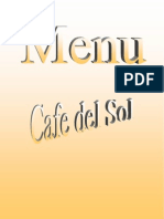 Cafe del Sol Italian/Thai Restaurant - Menu