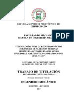 TECNOLOGÍA PARA LA RECUPERACIÓN DE ALABES DE TURBINAS