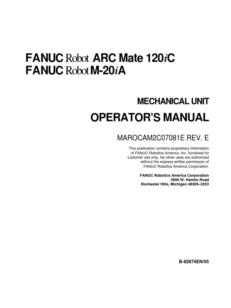 arc mate 120ic safety technology rh es scribd com Fanuc Sealing Fanuc Robot Manuals PDF