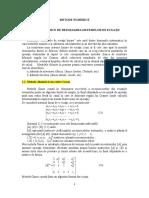 Curs. Metode Numerice de Rezolvare a Sistemelor de Ecuații Liniare .