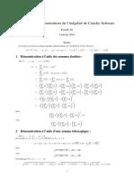 Différentes Démonstrations de l'Inégalité de Cauchy-Schwarz