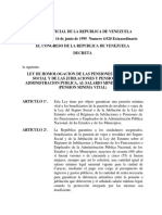 Ley de Homologacion de Las Pensiones Del Seguro Social y de Las Jubilaciones y Pensiones de La Administracion Publica Al Salario Minimo Nacional Pension Minima Vital