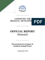 Committee for Regional Development - Procurement Governance in Northern Ireland Water - Sept 1, 2010