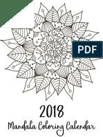 Free Printable 2018 Calendar Mandalas