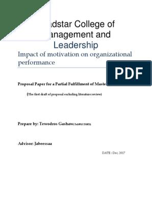 Impact Of Motivation On Organizational Performance