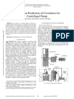 A Study on Prediction of Cavitation for Centrifugal Pump