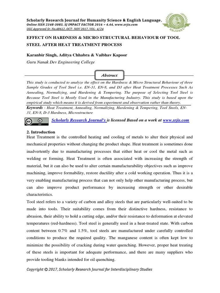 Effect On Hardness Micro Structural Behaviour Of Tool Steel After