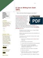 David Ogilvy 10 Tips on Writing