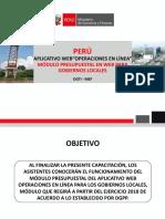 Módulo Presupuestal Web Gobiernos Locales 2018