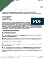 Credit After Foreclosure, Bankruptcy or Short Sale