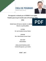 Presupuesto evaluado por el INDECI a la región Tumbes para la prevención ante el Fenómeno Niño, 2016 - Br. José Lizandro Serrano Morán