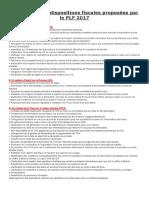 Les Principales Dispositions Fiscales Proposées Par Le PLF 2017