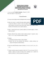 1ª Lista de Exercícios - Química Inorgânica - Estrutura Atômica