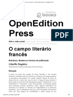 Arte e Vida Social - O Campo Literário Francês - OpenEdition Press