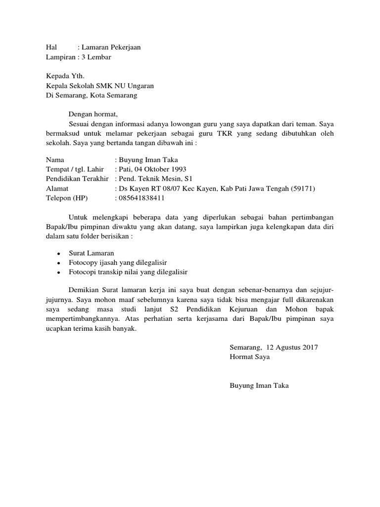 25+ Contoh surat lamaran pekerjaan pt sami semarang terbaru terbaru