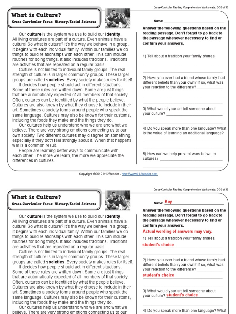 Worksheets Cross-curricular Reading Comprehension Worksheets worksheets cross curricular reading comprehension gr3 wk30 what is culture pdf community process