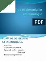 Examinarea Pacientului in Oftalmologie