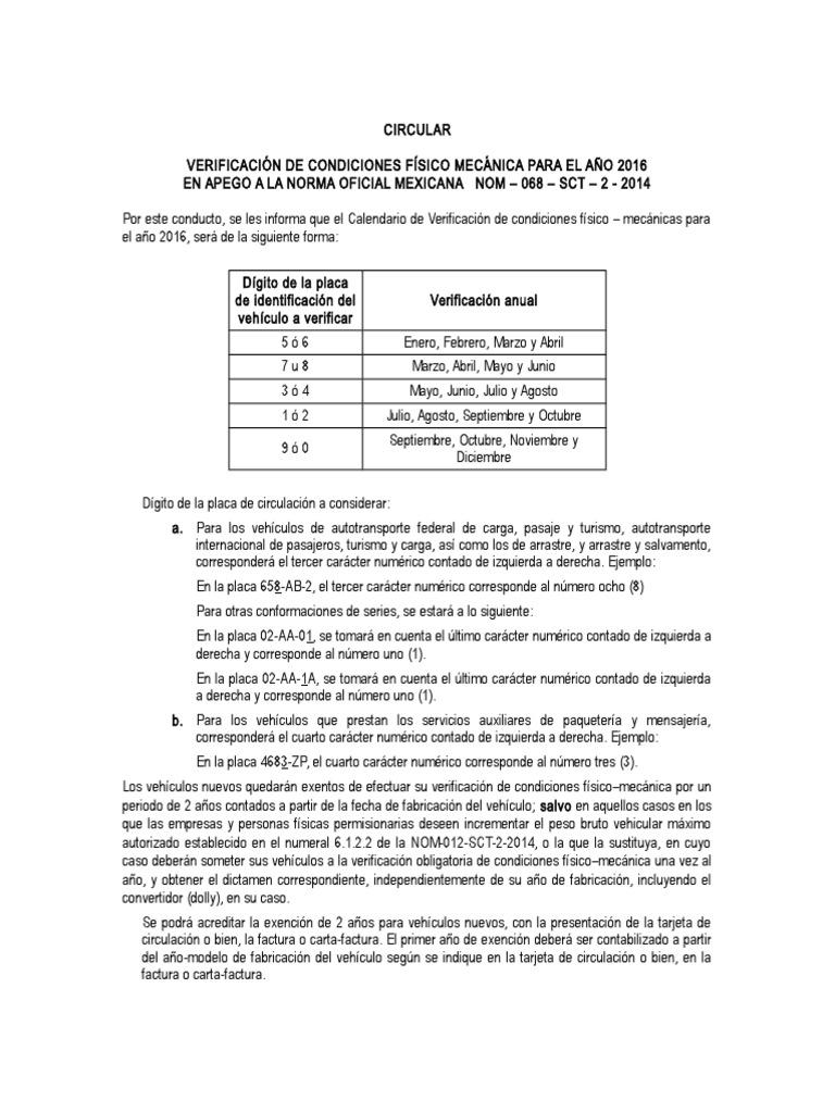 Calendario Fisico.Calendario De Verificacion F M 2016