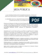 CARTA PÚBLICA.  A LAS 9 FEDERACIONES DE EDUCADORES NACIONALES, A TODOS LOS SINDICATOS REGIONALES Y AL MAGISTERIO VENEZOLANO EN GENERAL