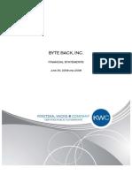 Byte Back, Inc. FS June 30, 2009