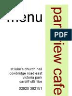 Parkview Cafe menu September 2010