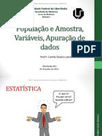 População e Amostra, Variáveis, Apuração de Dados