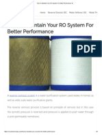 How to Maintain Your RO System for Better Performance %